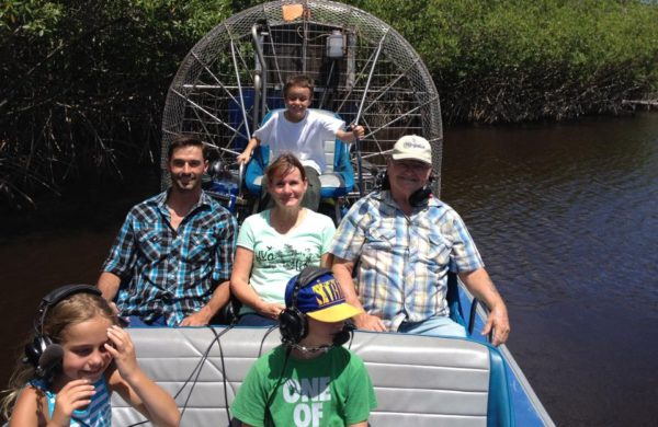Everglades City Airboat with happy family