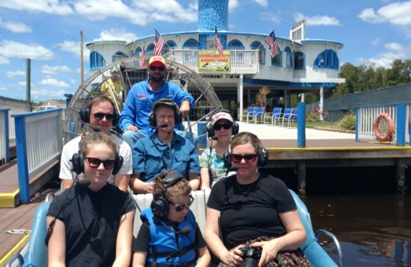 Everglades City Airboat Tours captain and tourists looking at the camera