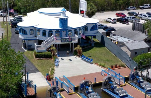 Aerial shot of Everglades City Airboat Tours building facility