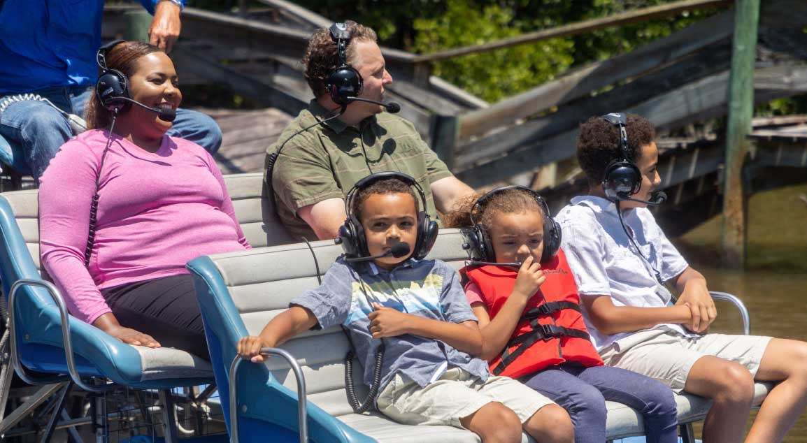 Family riding an Everglades City Airboat